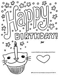 Birthday Card With Pictures Cat Cupcake Coloring For Kids