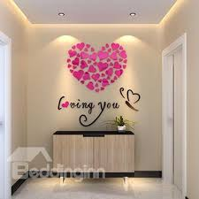56 Heart Shape And Loving You Mirror Acrylic 3D Wall Sticker