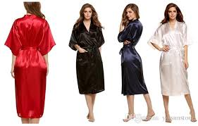 Fashion Womens Solid Silk Kimono Robe For Bridesmaids Wedding Party Night Gown Pajamasavailable Robes
