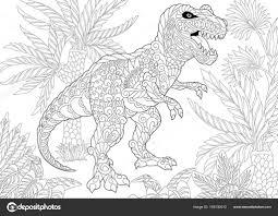 Dinosaure Tyrannosaure Zentangle Image Vectorielle Sybirko