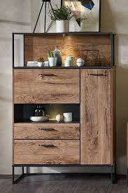 design highboard washton i in eiche dunkel optik mit klappe