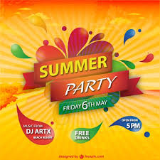 Summer Party Sunburst Colorful Background Free Vector