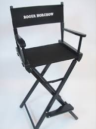 Aluminum Directors Chair Bar Height by Embroidered Text Directors Chair
