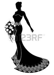 Bride Silhouette Wedding Illustration The In A Bridal Dress Gown With Abstract Floral Pattern