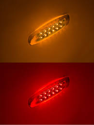 100 Truck Marker Lights Low Profile PeterbiltStyle LED And Trailer W Clear Lens And Chrome Bezel 6 LED Side Clearance Pigtail Connector Surface