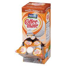 Coffee Mate Liquid Creamer Vanilla Caramel 0375 Oz Cups 50 Box 4 Carton