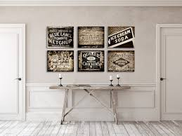 Kitchen Decor Prints Or Canvas Art Rustic Wall Set Of 6 Black And White Country Farmhouse
