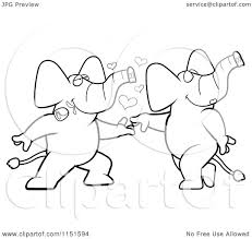 Cartoon Clipart Of A Black And White Romantic Elephant Pair Dancing