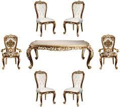 casa padrino luxus barock esszimmer set weiß gold braun gold 1 esszimmertisch 6 esszimmerstühle edle esszimmer möbel im barockstil edel