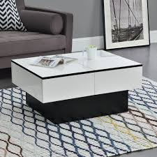 en casa couchtisch lens wohnzimmertisch mit 2 staufächern tischplatte aufziehbar schwarz weiß kaufen otto
