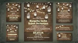 Rustic Mason Jar Wedding Invitations With Lights
