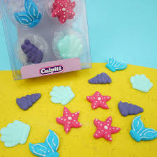 Pack Of 12 Mermaid Sugar Decorations Boxed