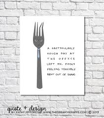 Funny Kitchen Print Fork Art Quirky Artwork Utensils