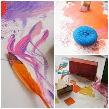 Painting With Feathers Sponges And Blocks