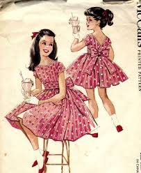 50s Little Girls Party Dress With Pleated Sash Pattern