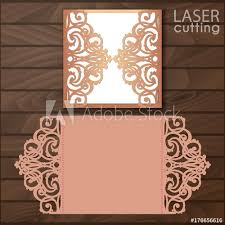 Laser Cut Wedding Invitation Card Template Vector Cutout Paper Gate Fold For Cutting