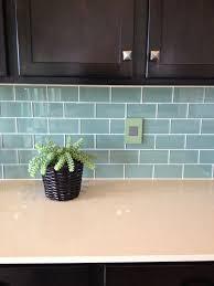blue green glass subway tile backsplash home designing