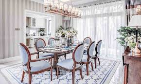 View In Gallery Fabulous Wallpaper Drapes And Rug The Dining Room Stitches Together Contrasting Textures Design