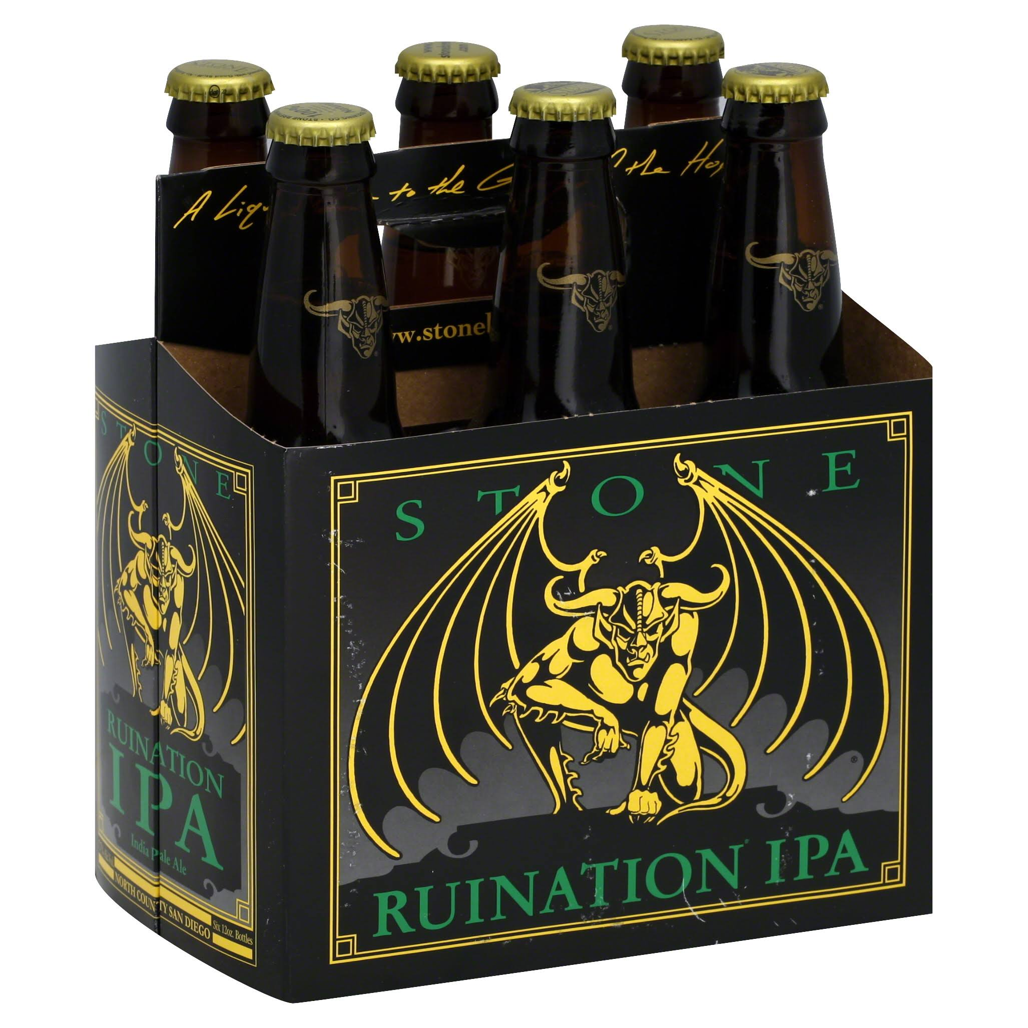 Stone Ale, India Pale, Ruination - 6 pack, 12 fl oz bottles