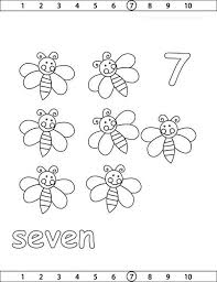 Learn Number 7 With Seven Bees Coloring Page
