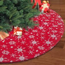 Ivenf 48 Luxury Red Burlap Snowflake Christmas Tree Skirt