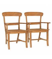 esszimmer stühle set mit armlehnen tanja 2 stück mit holzsitzfläche teakholz massiv gebürstet