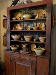 Primitive Hutch Full Of Yellow Ware