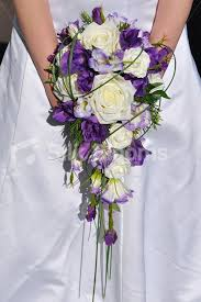 Rustic Inspired Artificial Purple Lisianthus Cascade Bridal Bouquet W Ivory Roses