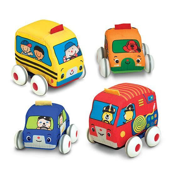 Melissa and Doug Pull Back Vehicle Kid's Soft Baby Toys Set - 4pcs Set