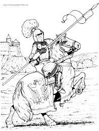 Knight In Armor On A Horse Color Page Fantasy Medieval Coloring Pages Plate
