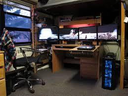 Lian Li Computer Desk by Powerful Custom Built Pc And Quad Monitor Workspace Samsung