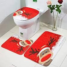 badezimmer set weihnachtsmann weihnachtsdeko 3 tlg toiletten