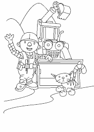Printable Bob The Builder Coloring Page Of Spud On Show With Scoop And A