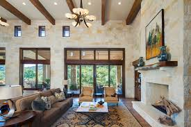 High Ceiling Windows Living Room Rustic With Two Story Driftwood Horse Sculpture
