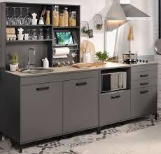 singleküche mona 2 grau 3 teilig küchenzeile schrank küchenschrank expendio