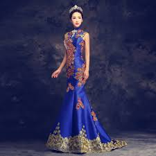 online shop high end luxury embroidery blue chinese