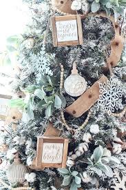 My Flocked Farmhouse Tree Super Cute Cotton Stems Lambs Ear Galvanized Snowflakes A Beaded Wooden Bead