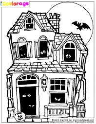 coulorage dessin et coloriage de maison hantée à imprimer