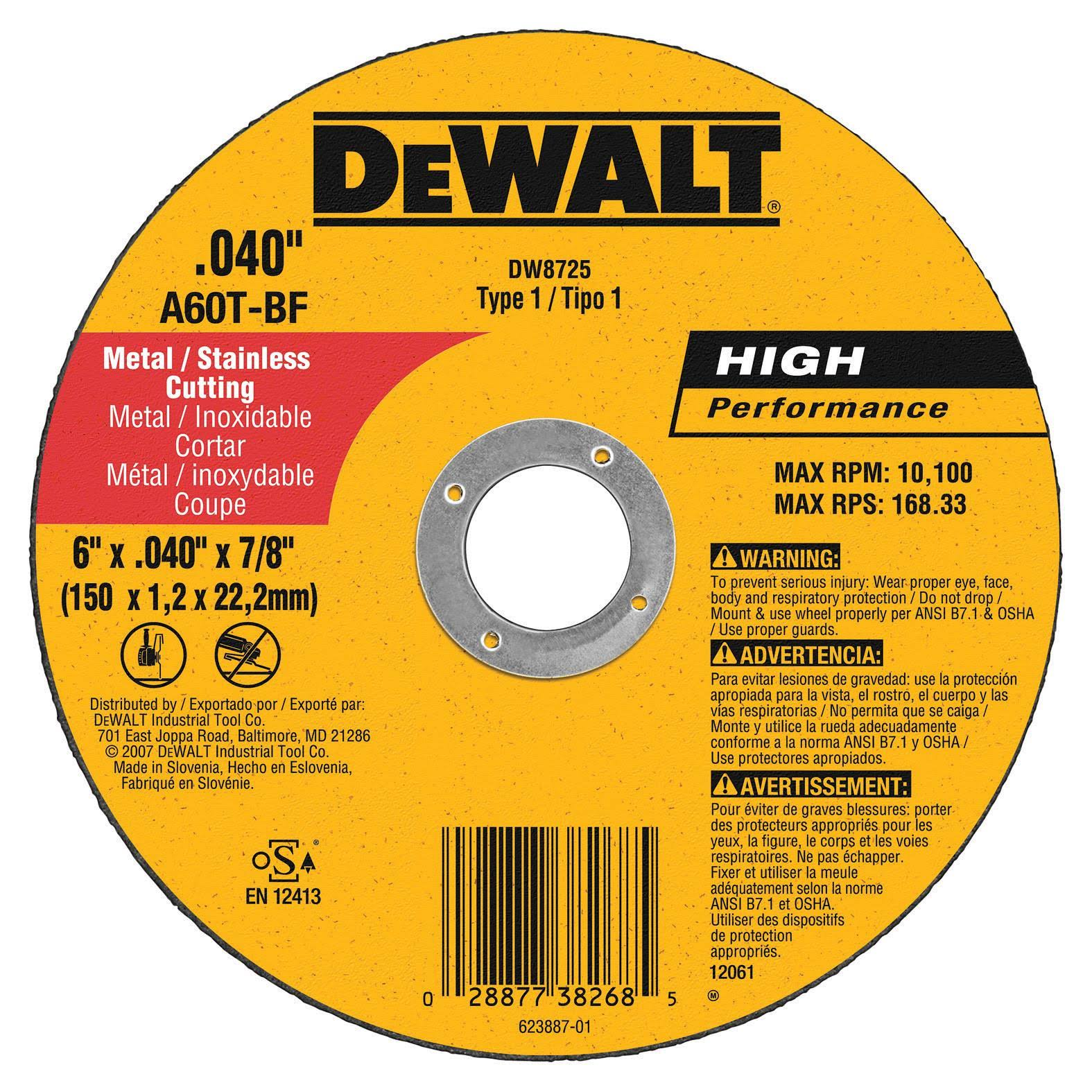 Dewalt Type 1 High Performance Reinforced Diameter Cut-off Wheel - 6""