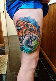 Colorful Tiger Tattoo On Thigh