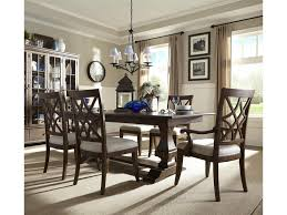 Trisha Yearwood Home Collection By Klaussner Trestle Table With Arm And Side Chairs Set