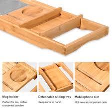 bamboo bathtub caddy tray tub bath organizer waterproof non slip
