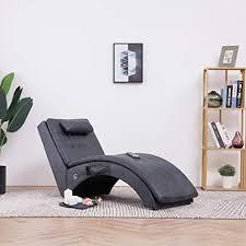 festnight relaxliege mit kissen wohnzimmer liegesessel modern relaxsessel liegestuhl sofaliege polsterliege grau wildleder optik