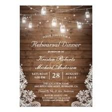 Rehearsal Dinner Rustic Wood Mason Jar Lights Lace Card Wedding InvitationsRehearsal