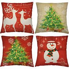 4 stück weihnachten kissenbezüge quadratischer kissenhuelle 43x43cm 4 weihnachtsmotive hochwertiges baumwollleinen versteckter reißverschluss