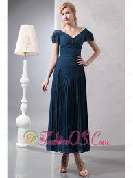 Classical Navy Blue Column V Neck Beading Mother Of The Bride Dress Ankle Length