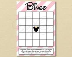 Princess Minnie Bingo Pink Mickey Fill In Cards Baby Shower Game Printable Digital File