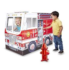Amazon.com: Melissa & Doug Fire Truck Indoor Corrugate Cardboard ...