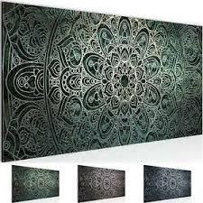 details zu wandbilder modern wohnzimmer mandala abstrakt grün schwarz weiss bilder