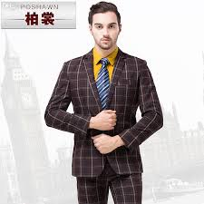 Discount Wholesale MenS Plaid Suit Set Vintage Coffee Colour Male SuitFashion Married Formal DressFormal Men Suits Blazer Jackets From China